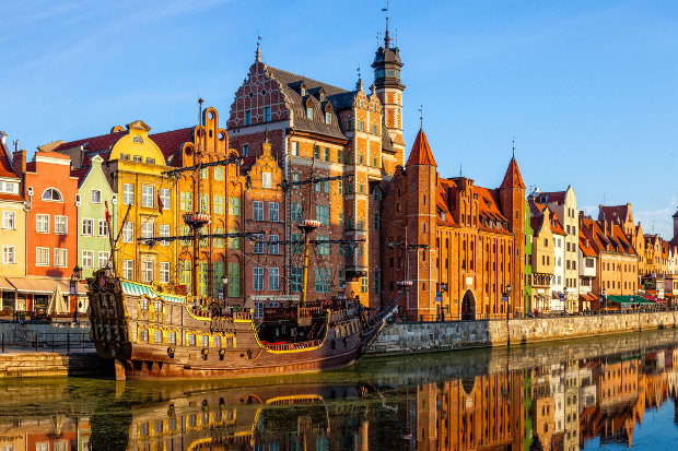 Gdansk's Old Town from the riverside in Poland