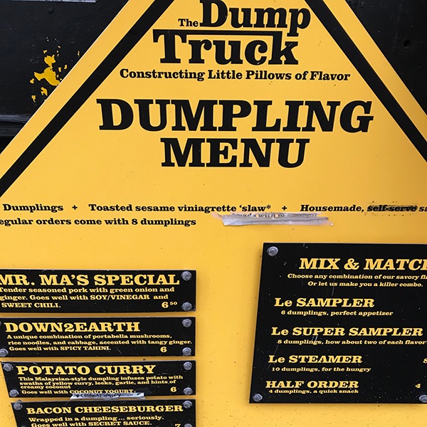 The Dump Truck food cart menu