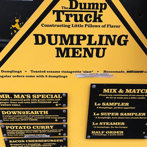 The Dump Truck food cart menu