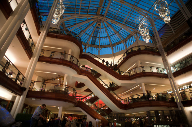 The levels of Princes Square looking up to the glass atrium