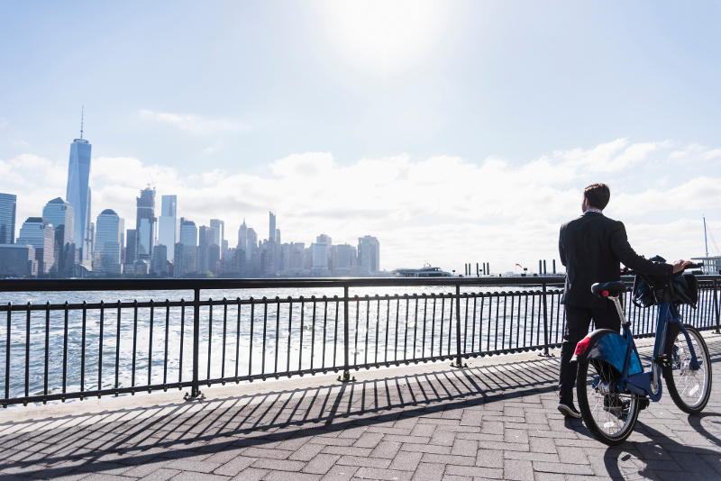 A person riding a bike