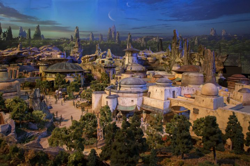An artist's impression of the Black Spire Outpost settlement on the planet Batuu