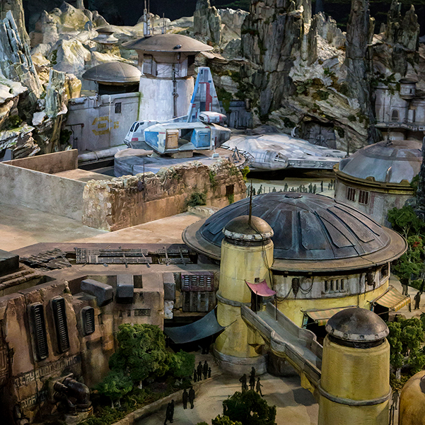 An artist rendition of Black Spire Outpost within Star Wars: Galaxy's Edge at Disneyland Resort.