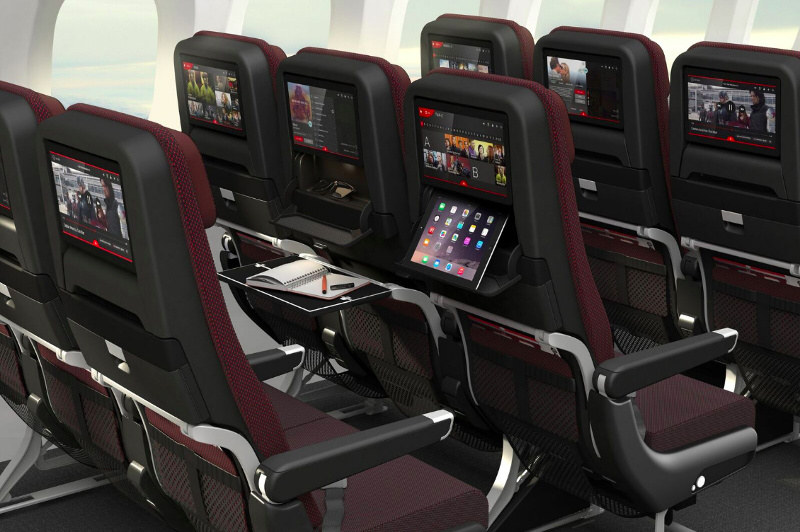 An artist's impression of the new economy class seats on board Qantas' Dreamliner.