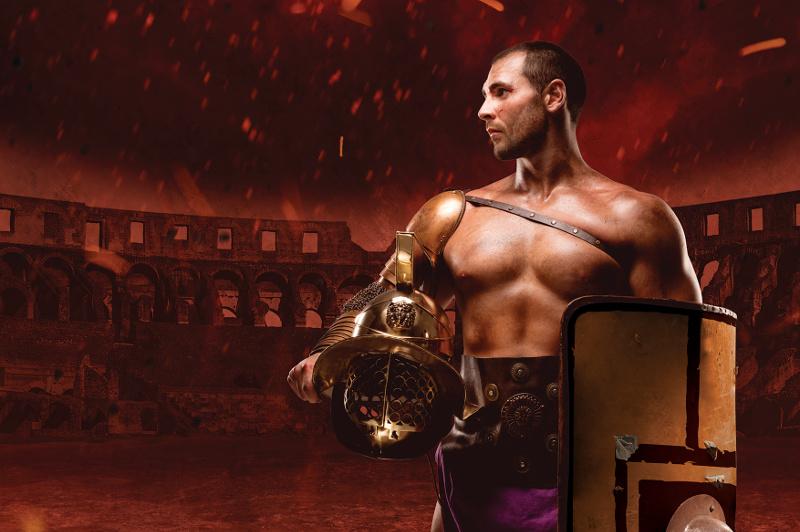 Gladiator carrying helmet