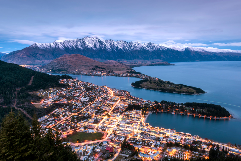 View of the lake and Queenstown