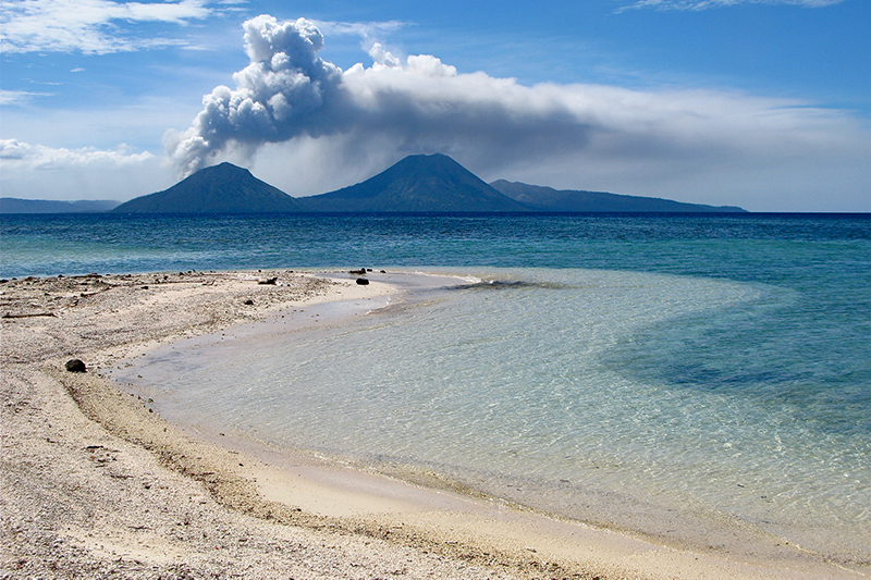 Tarvurvur Volcano on Rabaul as seen from Little Pigeon Island, PNG.