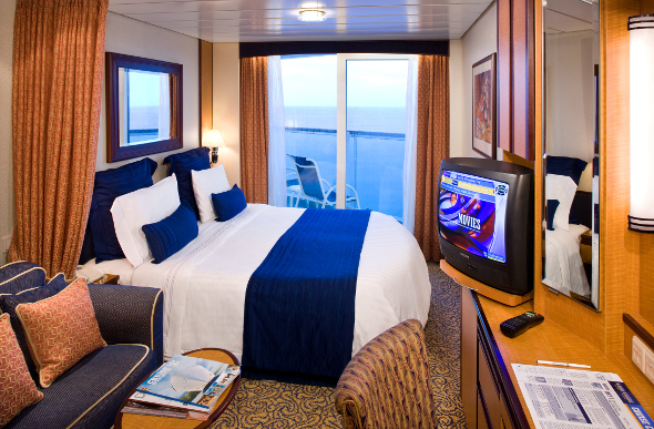 The interior of a balcony cabin on Royal Caribbean International