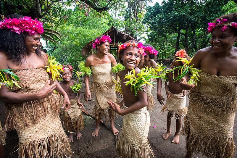 Local Vanuatu kids in national dress