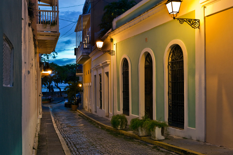 A cobbled street in San Juan, Puerto Rico.