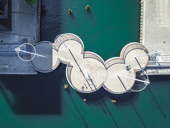 aerial of contemporary footbridge copenhagen
