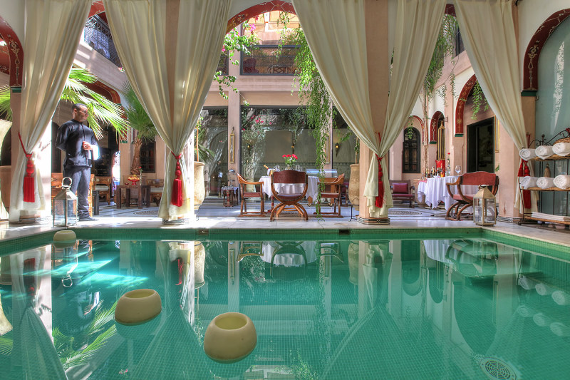 interior pool in luxury hotel Marrakesh