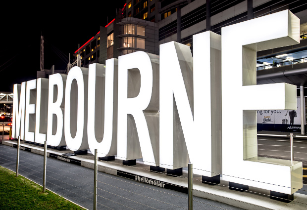 Melbourne sign at Melbourne Airport