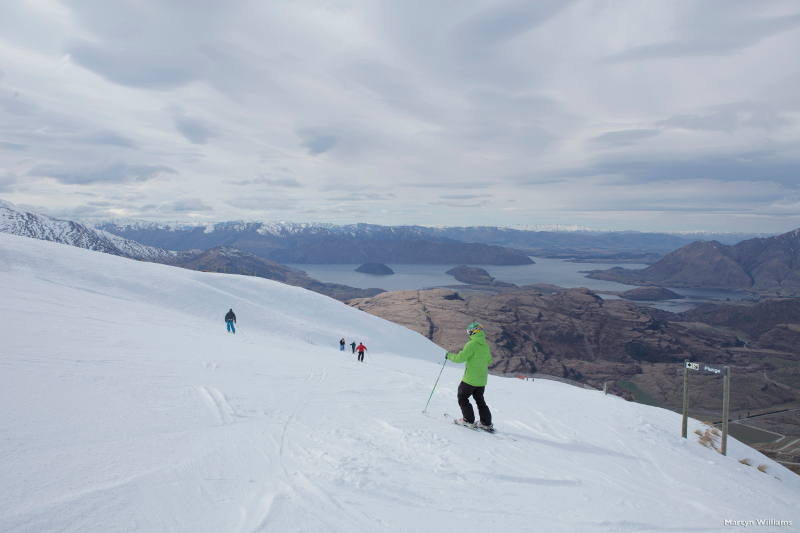 skiers at treble cone new zealand
