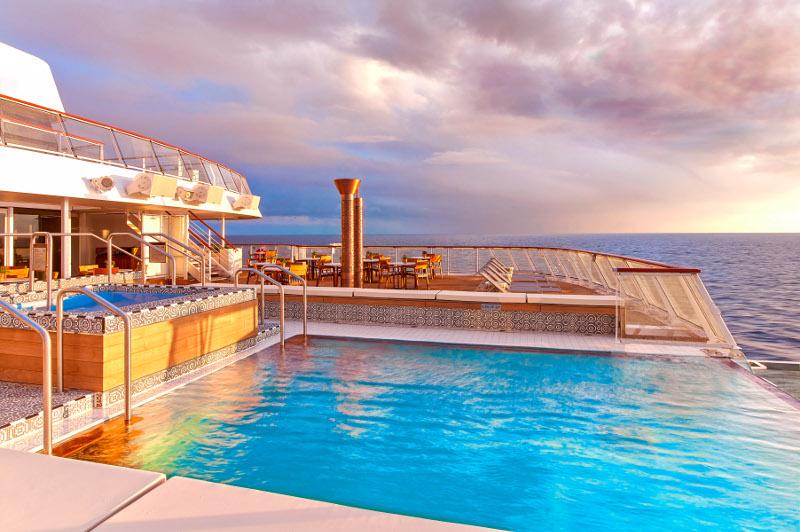 Viking Star infinity pool at sunrise. Viking Ocean Cruises