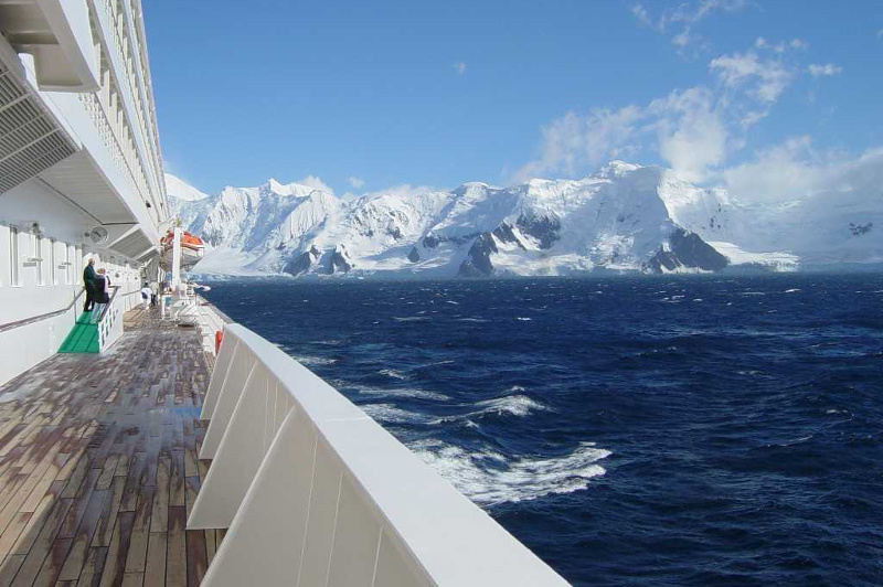 Crystal cruise ship in the antarctic