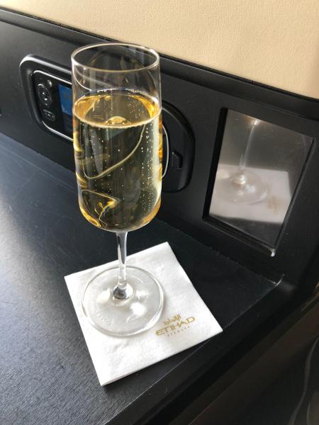 Champagne onboard Etihad Airways flight