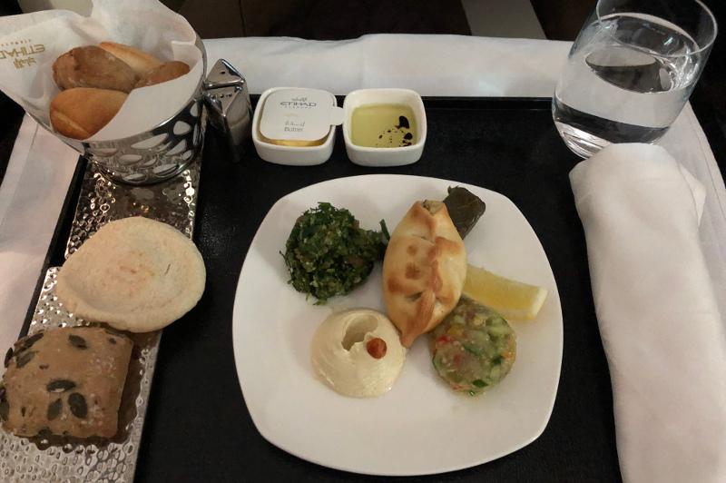 Entree on board Etihad Airways Business Class