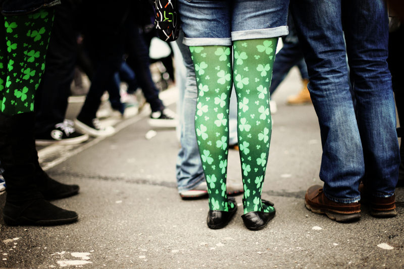 girls wearing shamrock tights to the St Patrick's Day parade in Dublin