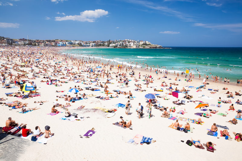 Bondi Beach crowds, Sydney, Australia