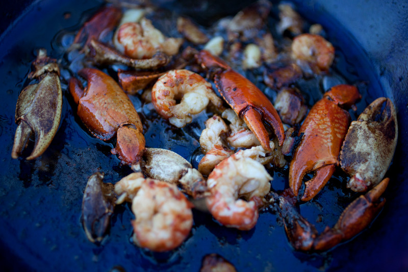 fresh seafood cooking in the pan Australia
