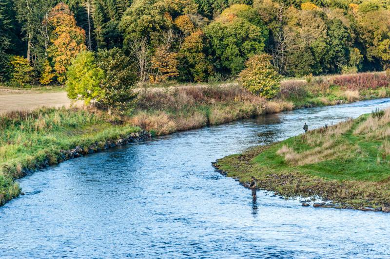 Men fishing for salmon in Scotland