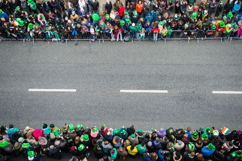 crowd waiting for the St Patrick's Day parade in Dublin, Ireland