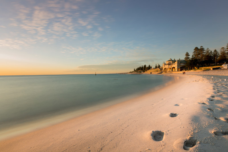 Cottesloe Beach in Perth at sunset