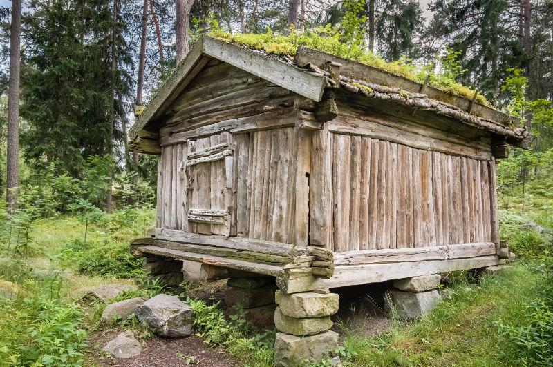 old wooden barn on the island of seurasaari, helsinki, finland