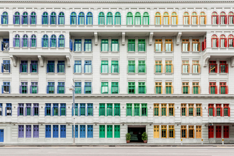 colourful shutters on MICA building, Singapore