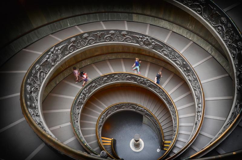 The modern Bramante Staircase, Vatican City, Italy