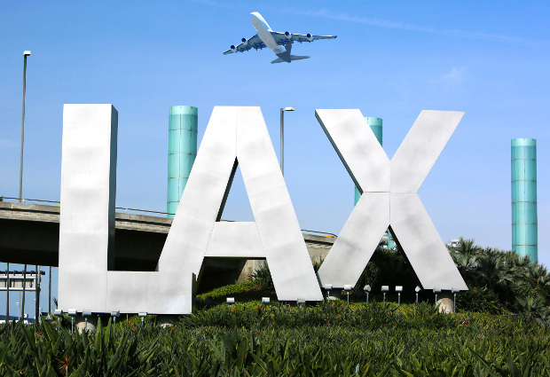 LAX sign outside Los Angeles International Airport