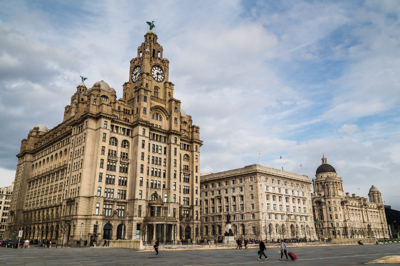 Three grand buildings in Liverpool.