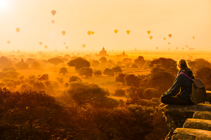 hot air balloons over bagan, myanmar