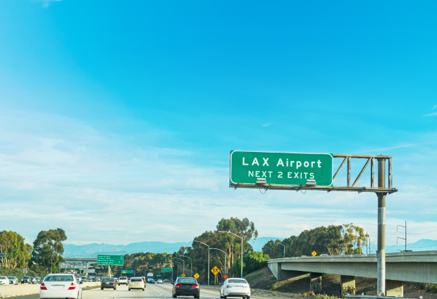 Road sign to LAX