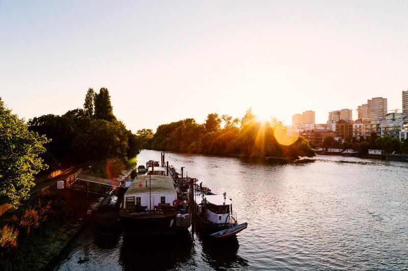 Kew bridge at sunset, river thames, london