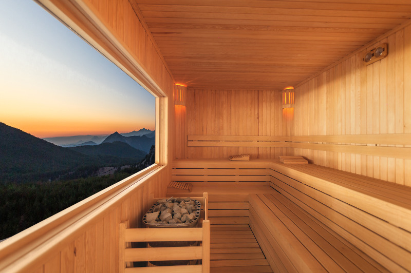 sauna with view over mountains