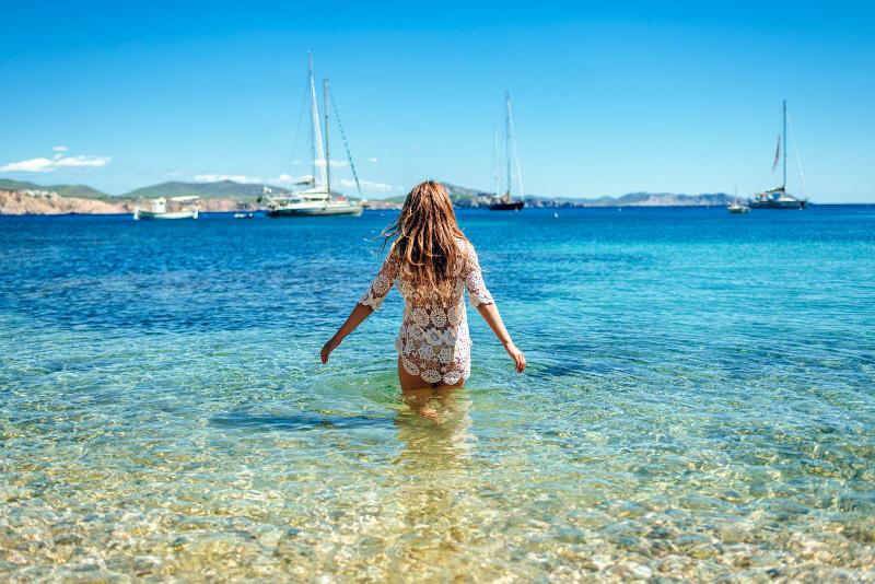 woman in sea in greece