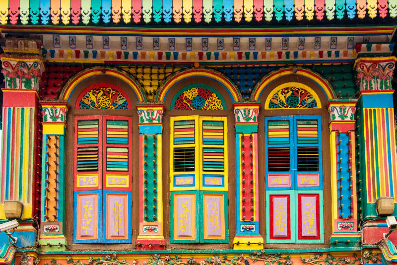 Colourful house in Little India, Singapore
