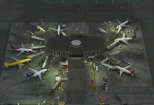 Aerial view of planes at LAX terminal