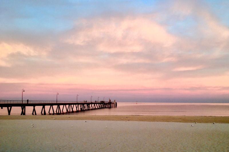 Glenelg beach at sunset