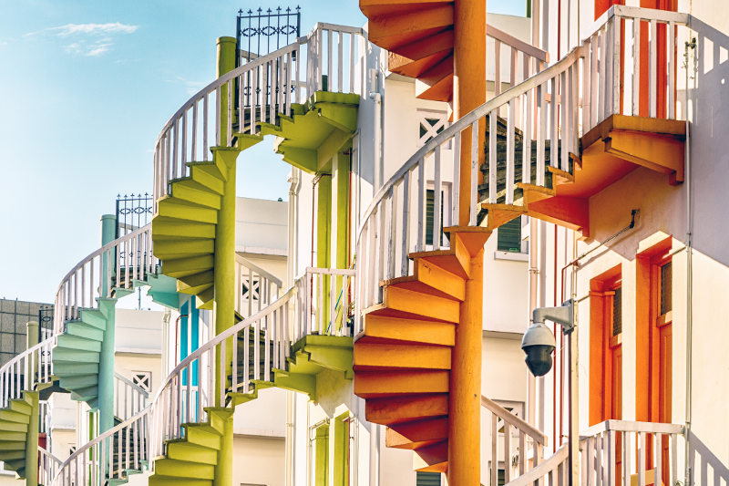 colourful staircases in Singapore