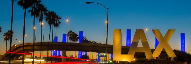 LAX sign at night Los Angeles International Airport