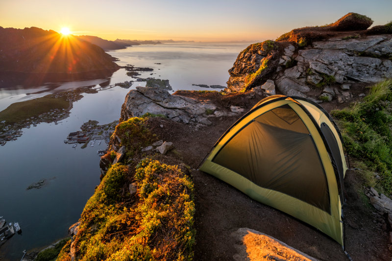 tent on ledge in norway