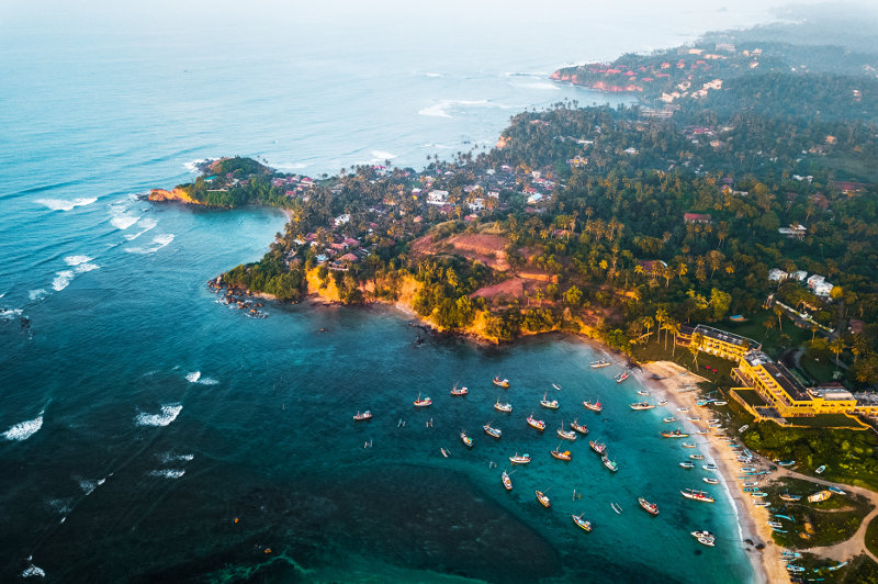 aerial view of weligama cape, sri lanka