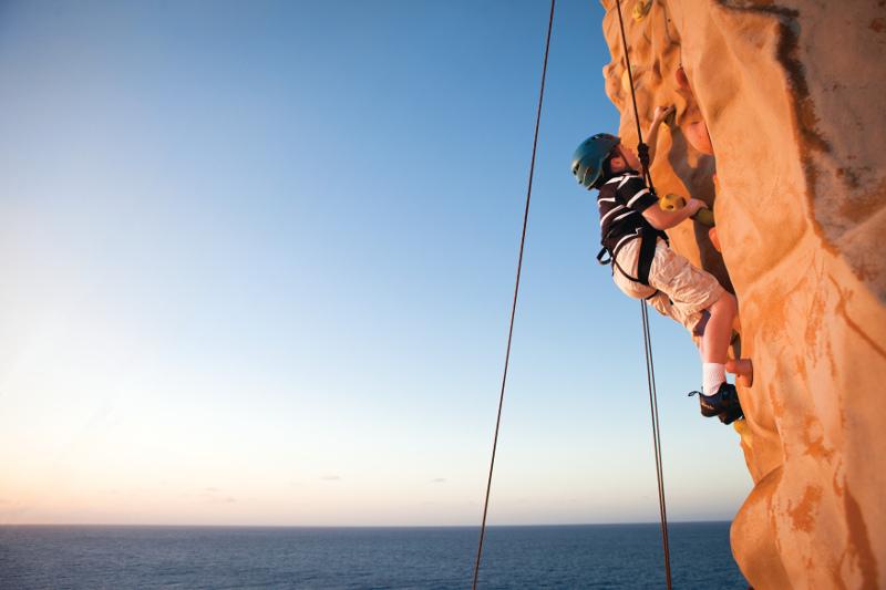 rock climbing aboard norwegian cruise lines