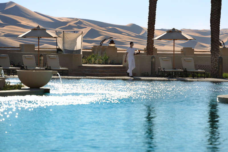 luxury hotel pool in desert