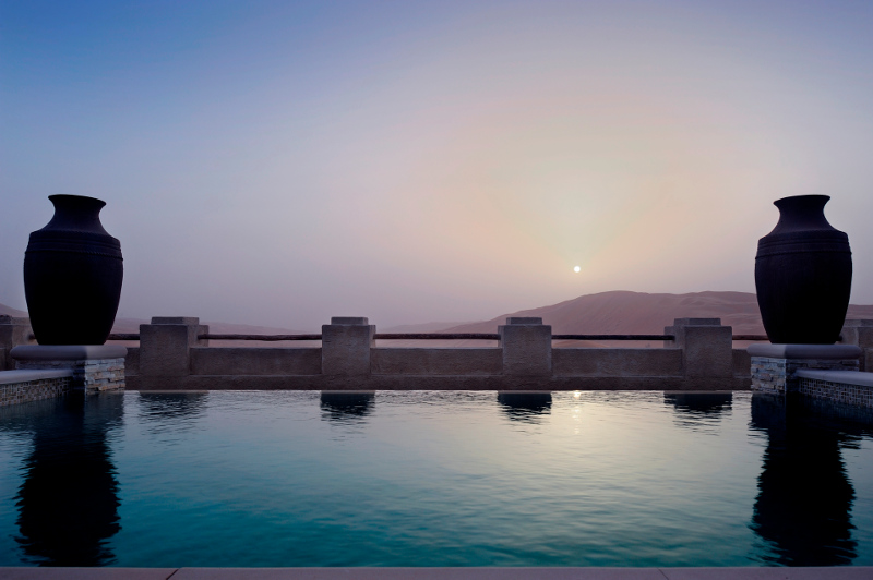 view from pool villa luxury desert hotel