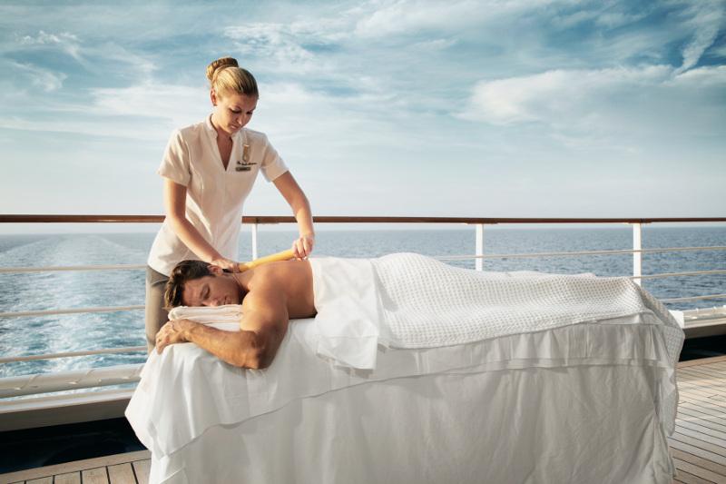 massage on deck of silversea cruise ship
