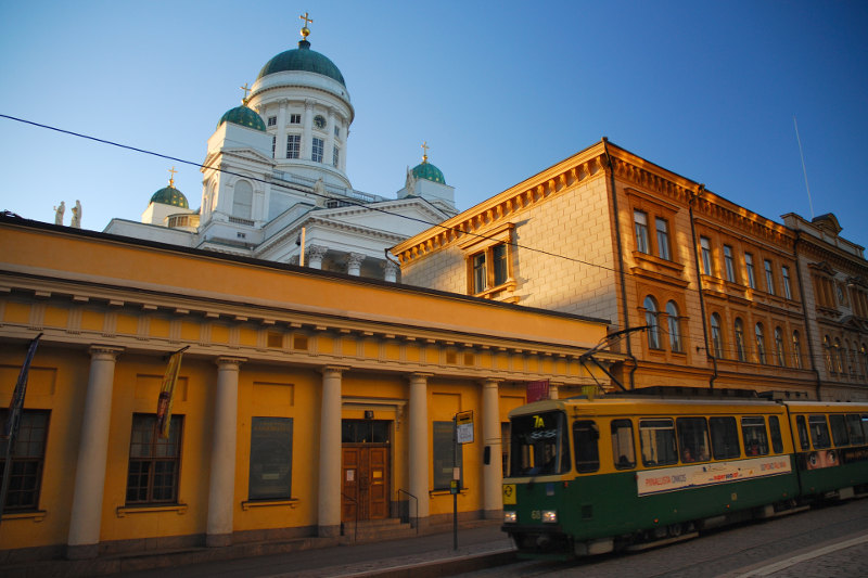 tram in city of Helsinki